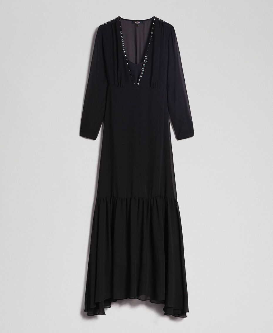 Long georgette dress with beads and studs Black Woman 192MP2481-0S