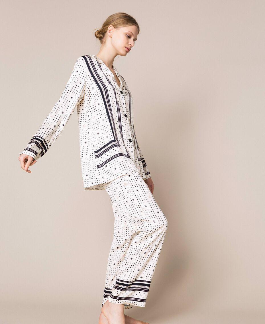 "Satin pyjamas with logo print Two-tone ""Peachskin"" Pink / Black Woman 201LL28AA-02"