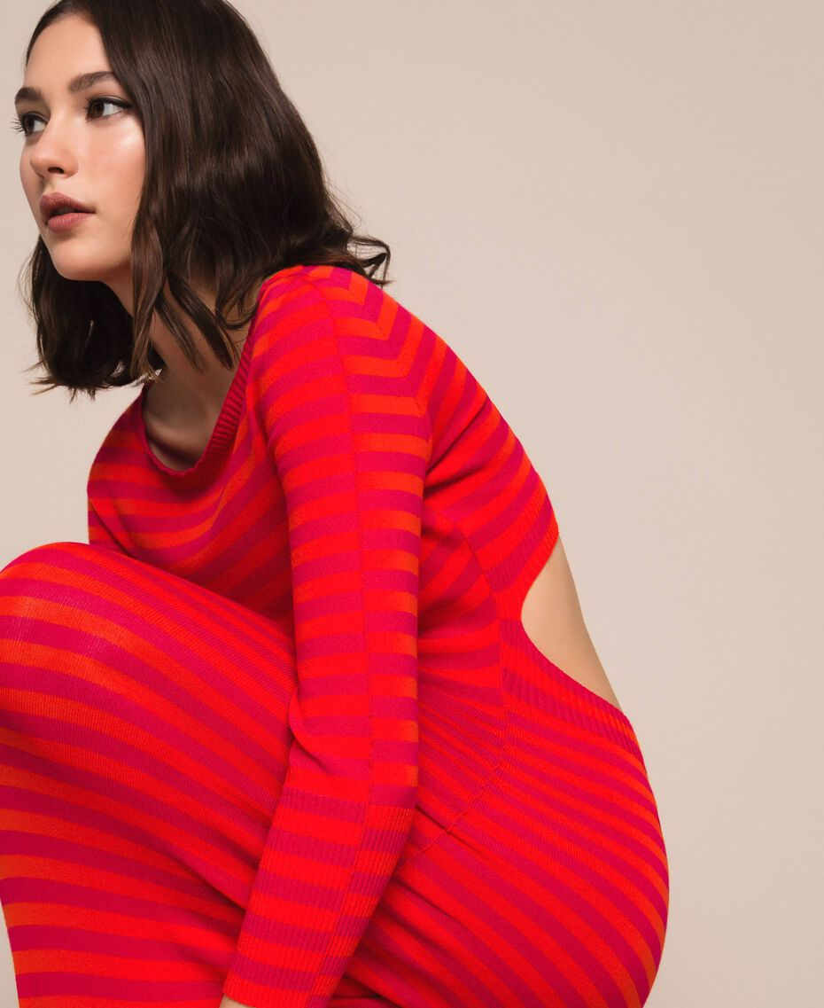 """Sheath dress with cutout on the back """"Black Cherry"""" Red / """"Jasper"""" Red Stripes Woman 201TP306A-02"""