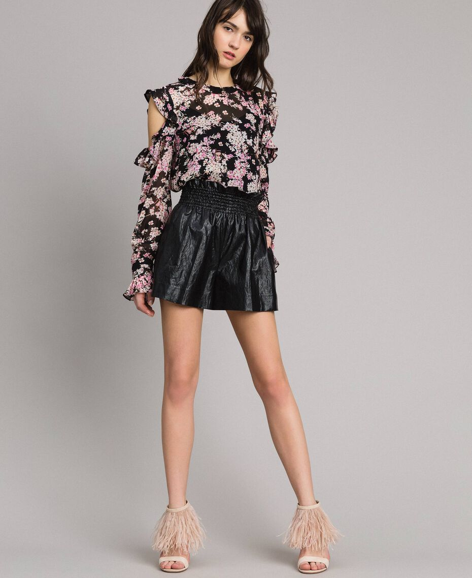 Shorts in similpelle Nero Donna 191TP2551-02