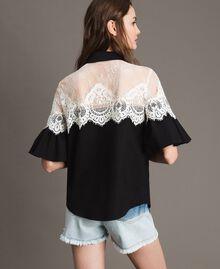 Poplin shirt with lace inlays Black Woman 191TT2120-04