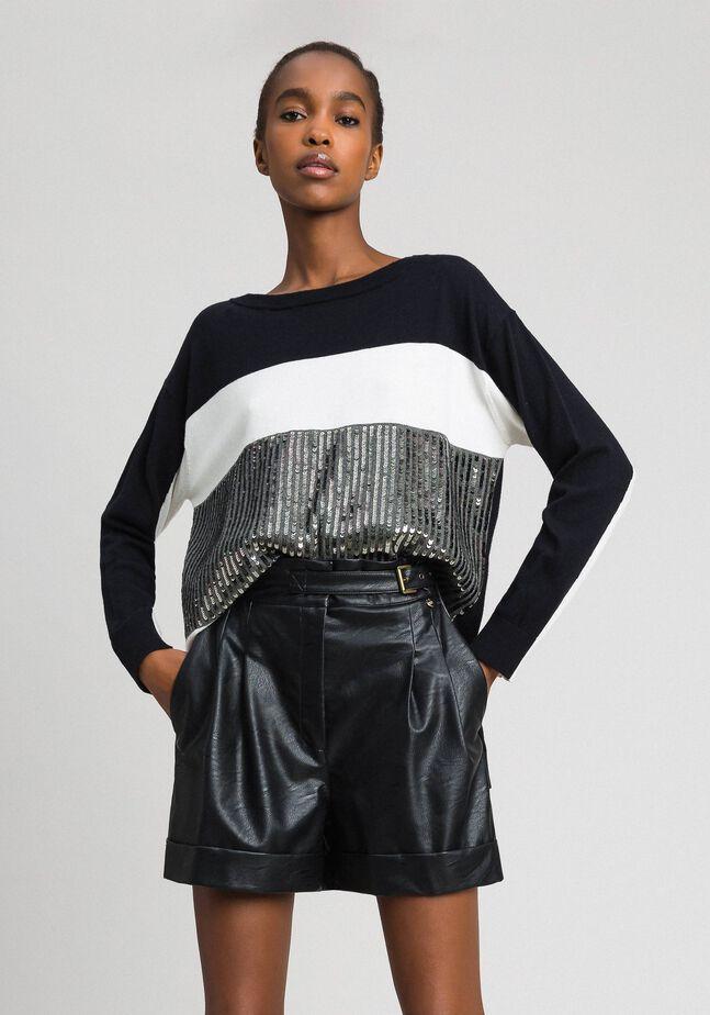 Colour block maxi jumper with sequins