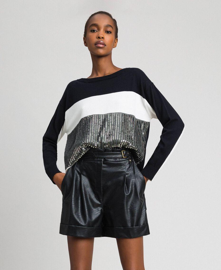 """Maxi maglia color block con paillettes Rigato Nero / Bianco """"Neve"""" / Grigio Mélange Scuro Donna 192ST3071-01"""