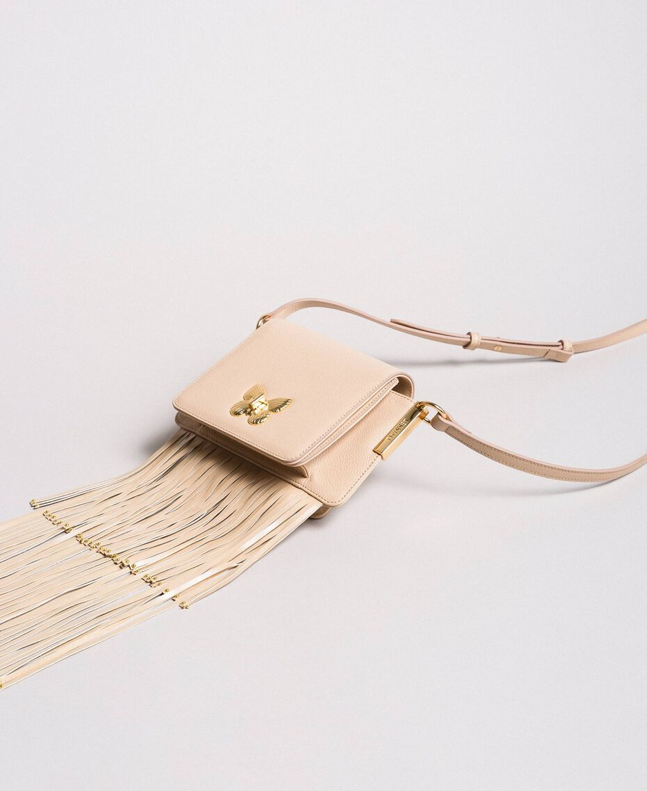 "Leather Bea shoulder bag with fringes ""Marzipan"" Beige Woman 191TO8231-02"