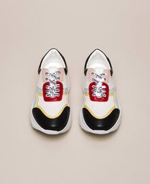 """Patent leather and mesh running shoes Multicolour """"Venetian Red"""" / """"Iris"""" Green Woman 201MCP106-05"""