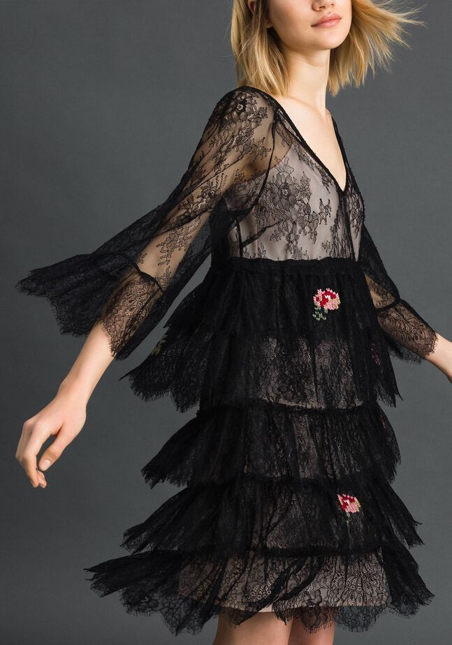 Valenciennes lace dress with floral embroidery