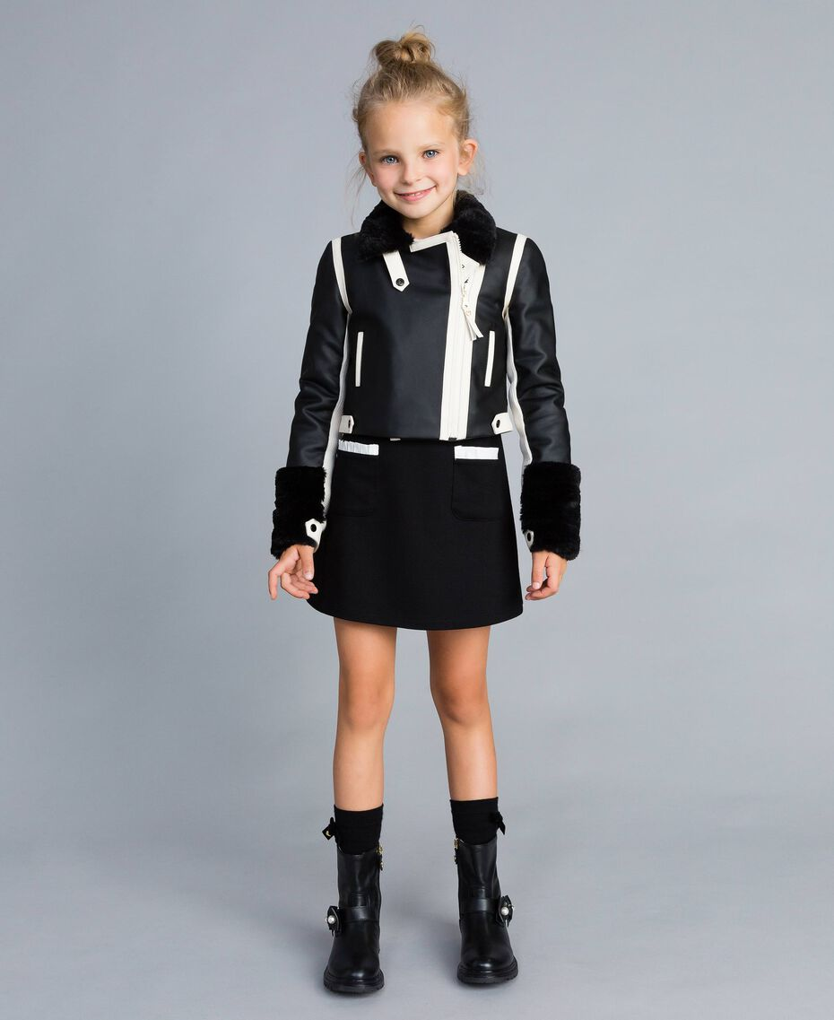 Two-tone faux leather jacket Bicolour Black / Off White Child GA82BU-0S