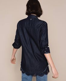 Denim shirt with lace Denim Blue Woman 201MP2402-03