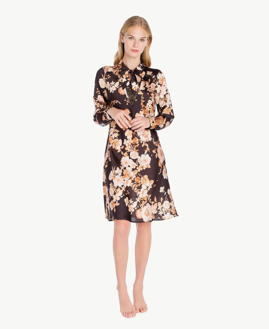 "Macro floral dress ""Nuditè"" Beige Print / Black IA7KFF-02"