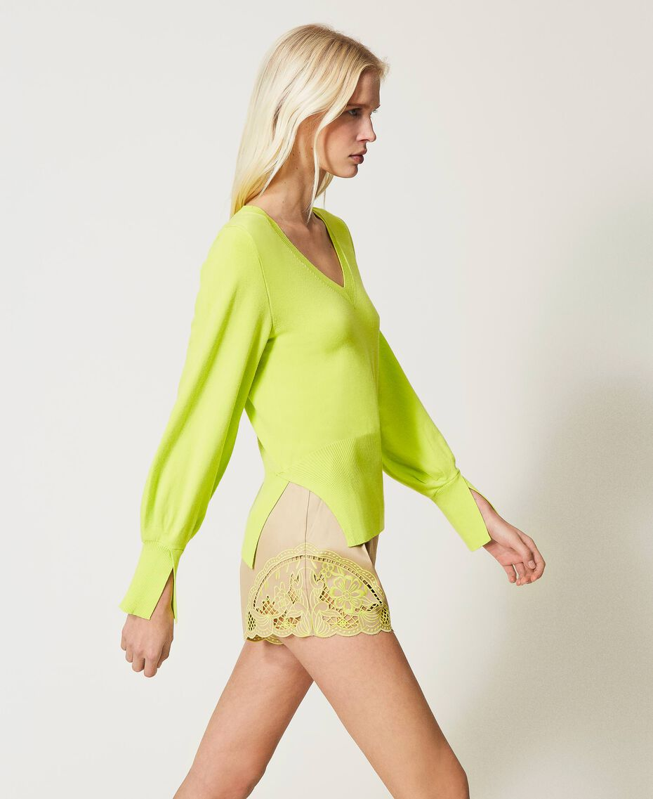 "Jersey sin costuras con mangas amplias Amarillo ""Led"" Mujer 211TT3071-03"