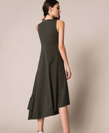 Long asymmetric dress with flounce Elm Green Woman 201ST2142-03