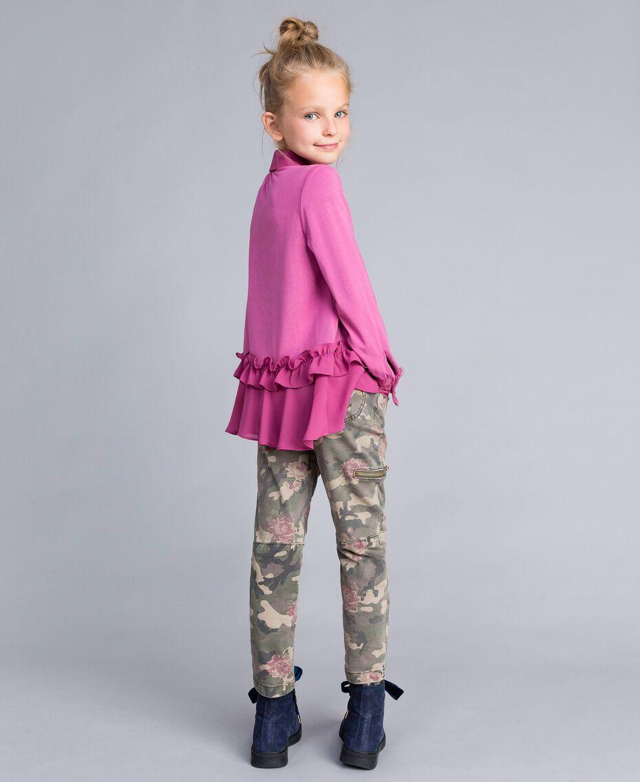 Bluse aus Jersey mit Volants Rosa Bouganville Kind GA82HB-02