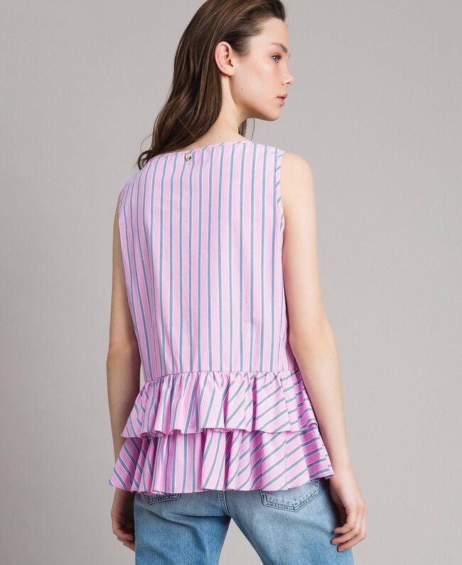 Striped poplin top with flounces Hydrangea Pink Woman 191MP2041-03