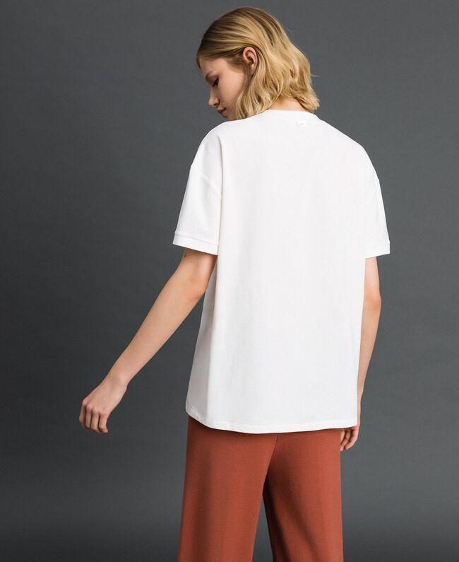 T-Shirt mit Metallic-Print Elfenbein Frau 192LI2RFF-03