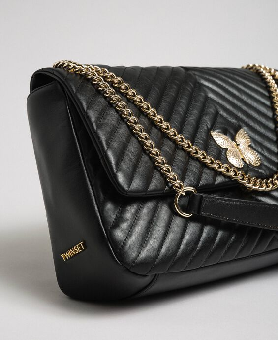 Large quilted leather shoulder bag