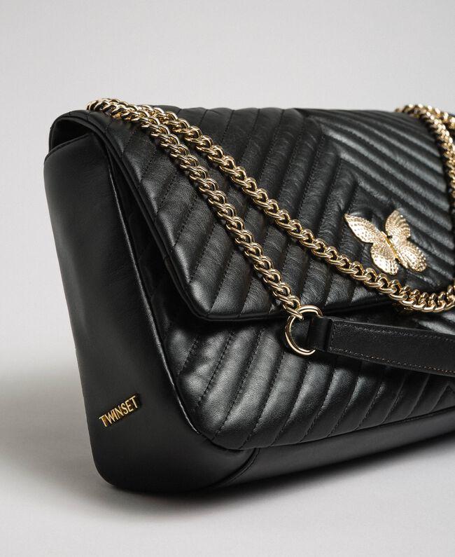 Grand sac à bandoulière en cuir matelassé Noir Femme 192TA7101-01