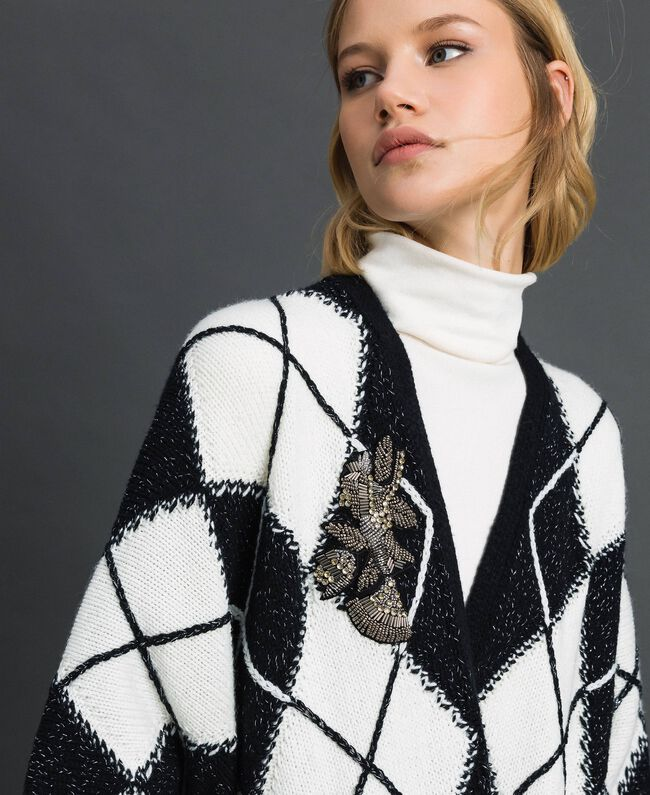 Poncho with diamond inlay and embroidery Inlay Black Woman 192TA4402-04