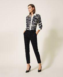 Pinstripe effect regular jeans Black Denim Woman 202MP2231-01