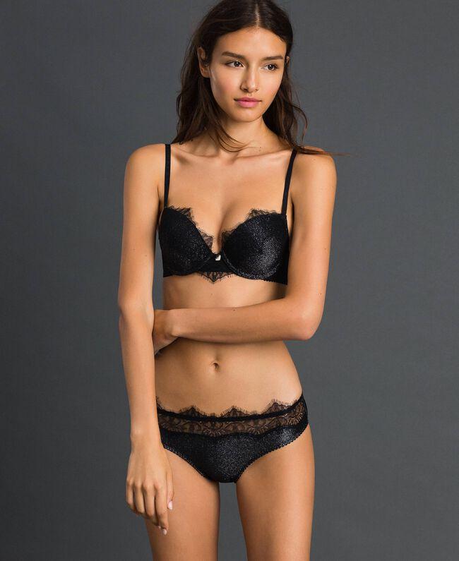 Culotte en lurex avec dentelle incrustée Noir Lurex Argent Femme 192LL6B66-01