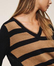 Jersey de rayas con encaje Bicolor Negro / Brown Sugar Mujer 202ST3051-04