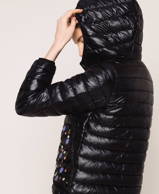Ultralight puffer jacket with sequins Black Woman 201ST2120-04