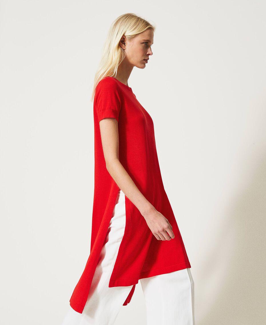 """Maxi maglia in misto lino con spacchi Rosso """"Corallo"""" Donna 211TT3153-02"""