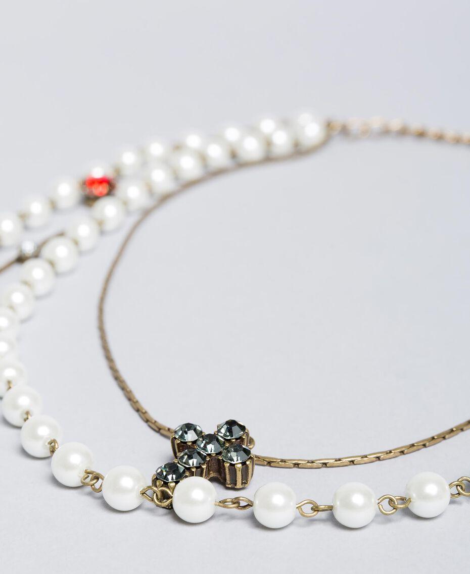 Mehrgliedrige Halskette mit Perlen und Edelsteinen Altmessing Frau QA8TLP-02