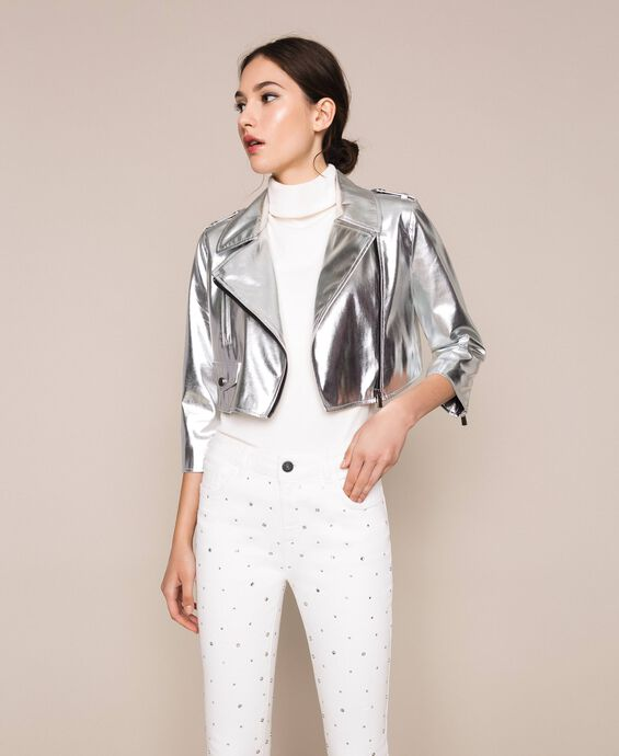 Cropped jacket in metal faux leather
