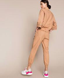 Blusa in popeline ricamo di paillettes Light Brown Donna 201ST2025-03