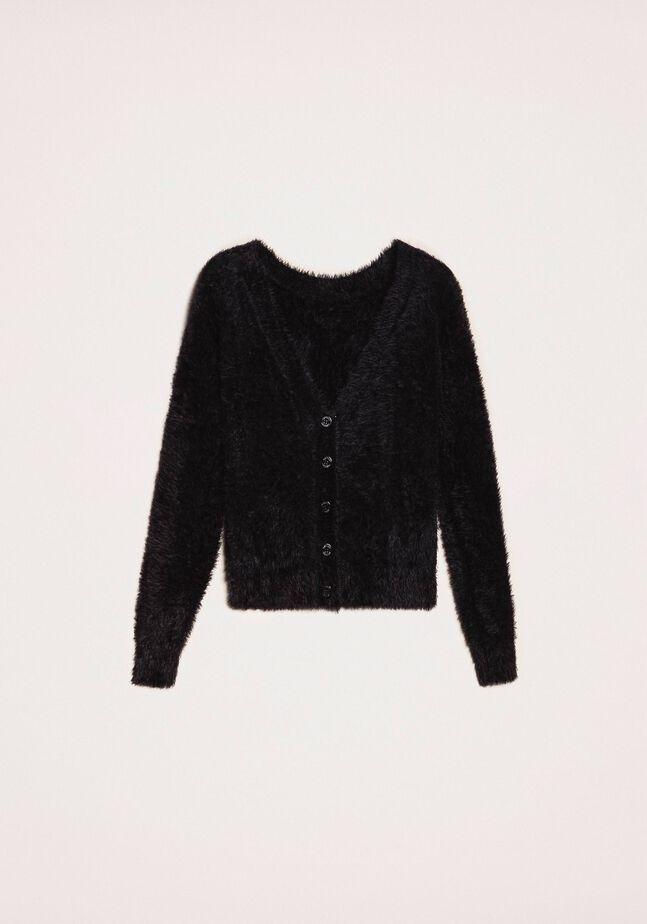 Cardigan-Pullover aus Pelzgarn