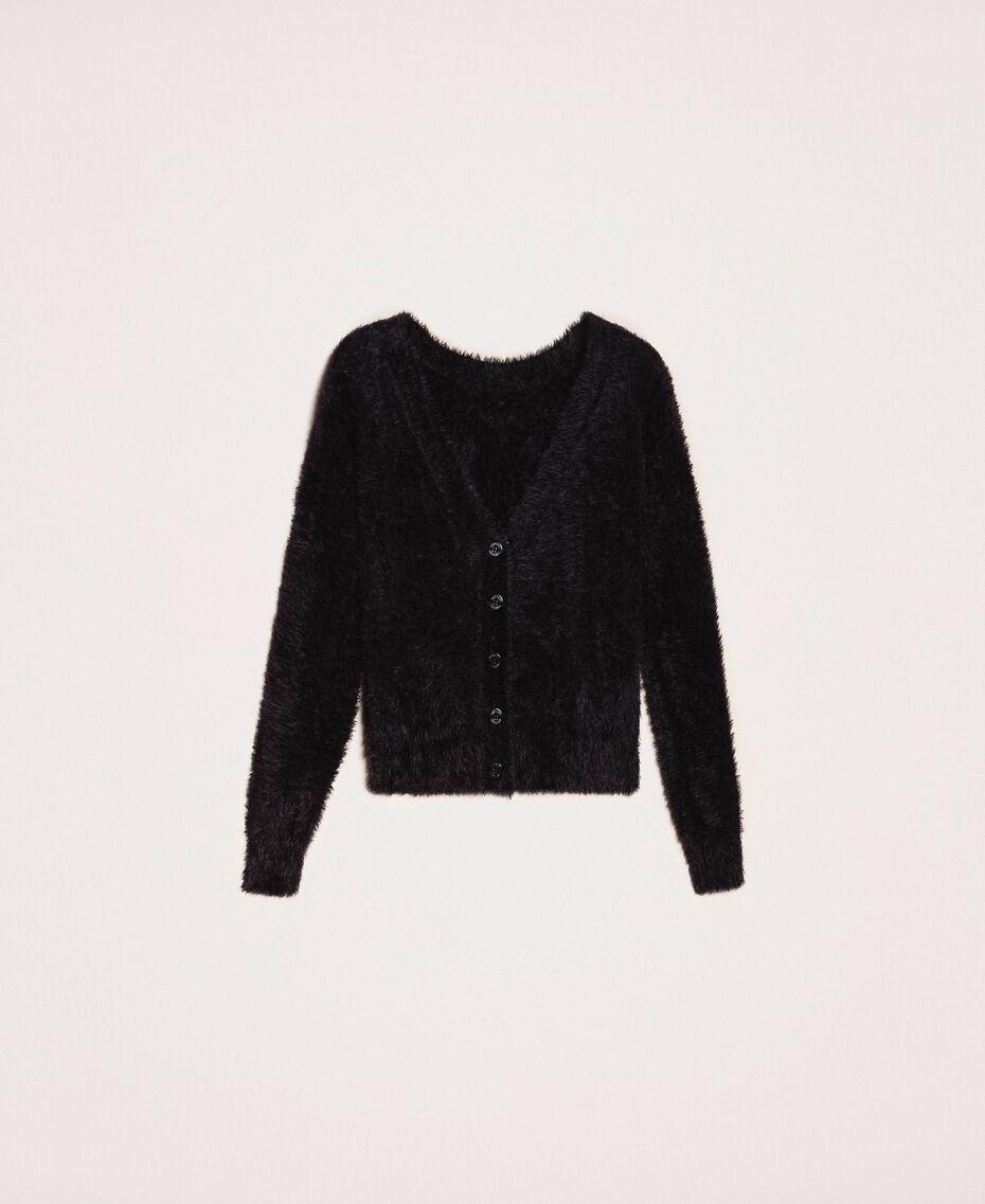 Cardigan-Pullover aus Pelzgarn Schwarz Frau 201TP3091-0S