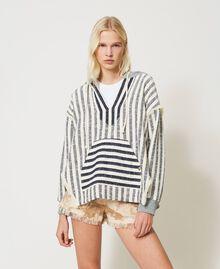 "Oversize striped hoodie ""Ivory Mat"" Grey / Blue Mixed Stripe Woman 211TT2060-01"