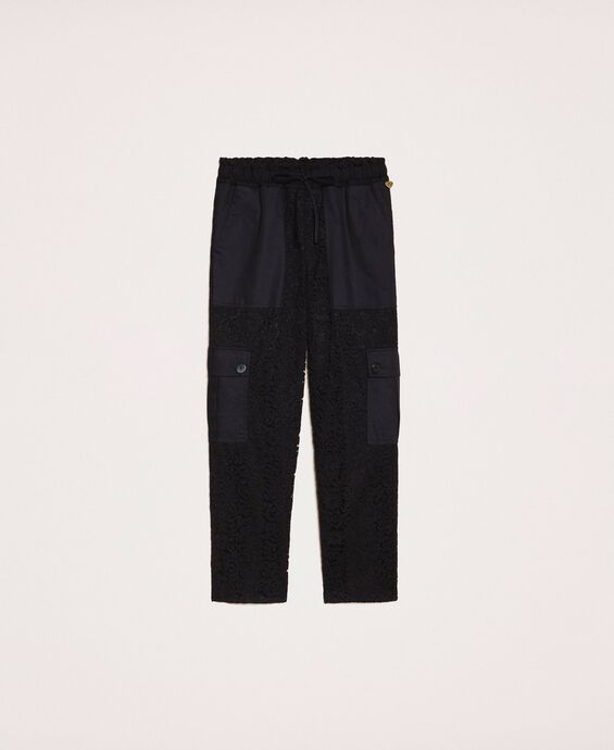 Pantalon cargo en dentelle macramé