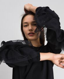 Plush dress with tulle flounce Black Woman 192LI2TCC-04