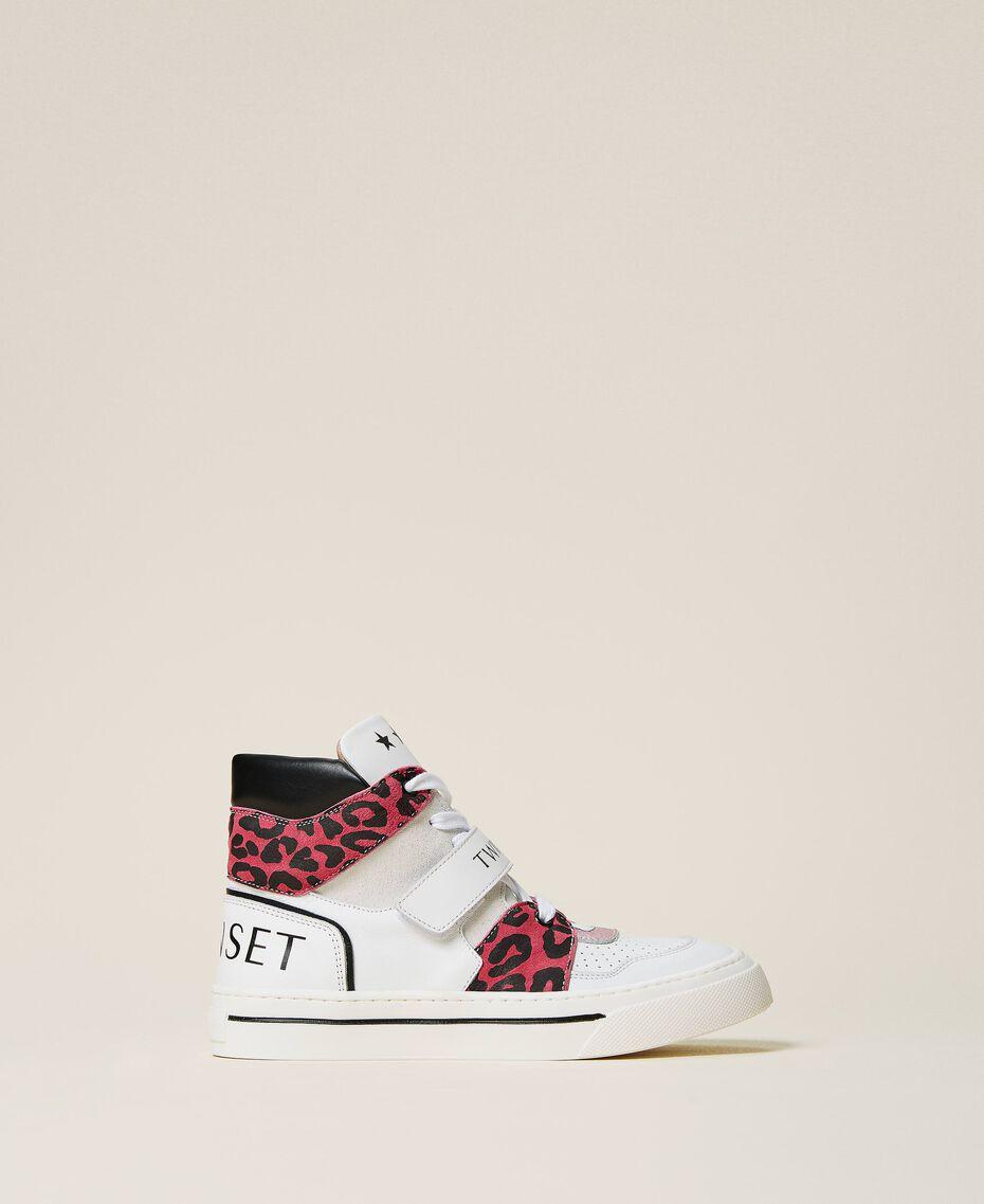 Sneakers de piel con animal print Bicolor Blanco / Estampado Maculado Carmine Rose Niño 212GCJ042-02