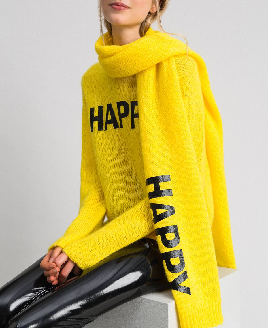 Knit scarf with lettering print Yellow Woman 192MO5304-0S