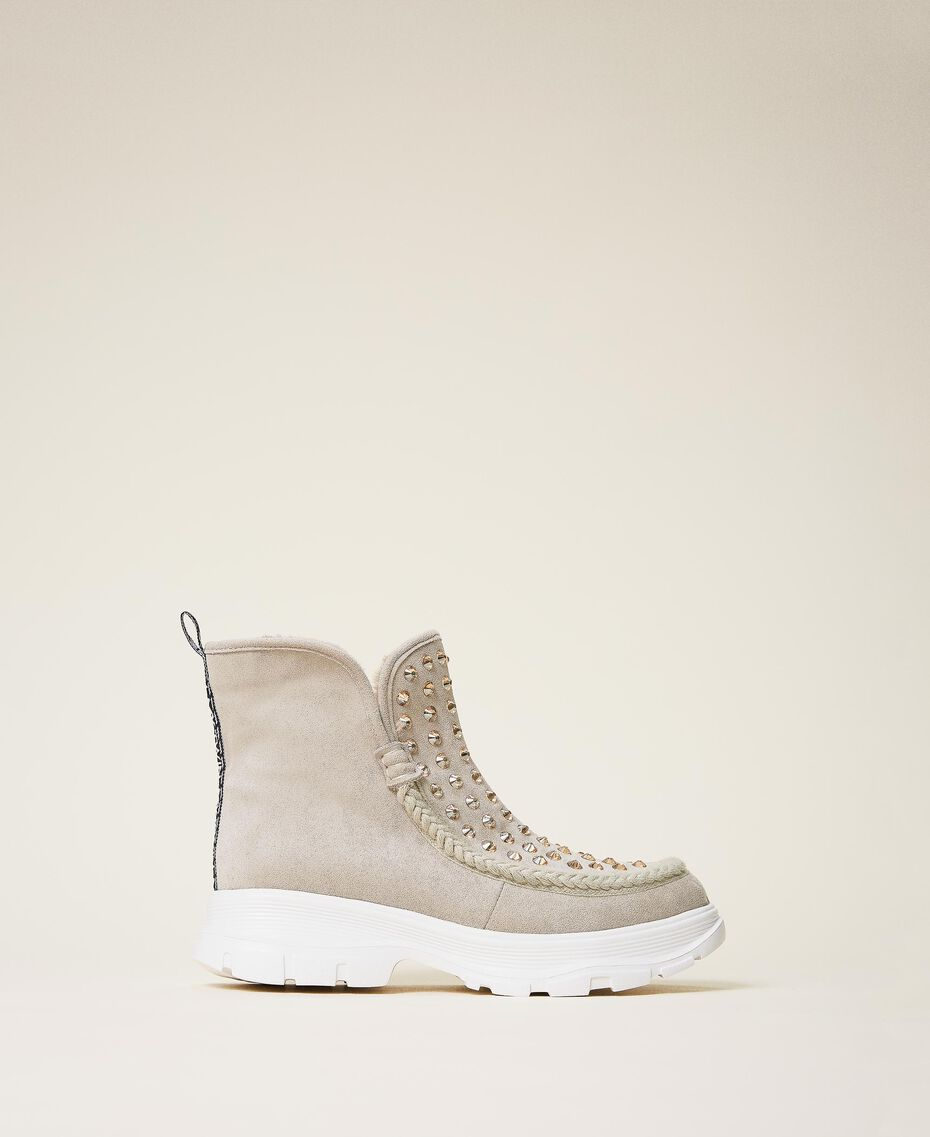 """Suede ankle boots with rhinestones Two-tone """"Optical"""" White / """"Topaz"""" Beige Woman 202MCP014-03"""