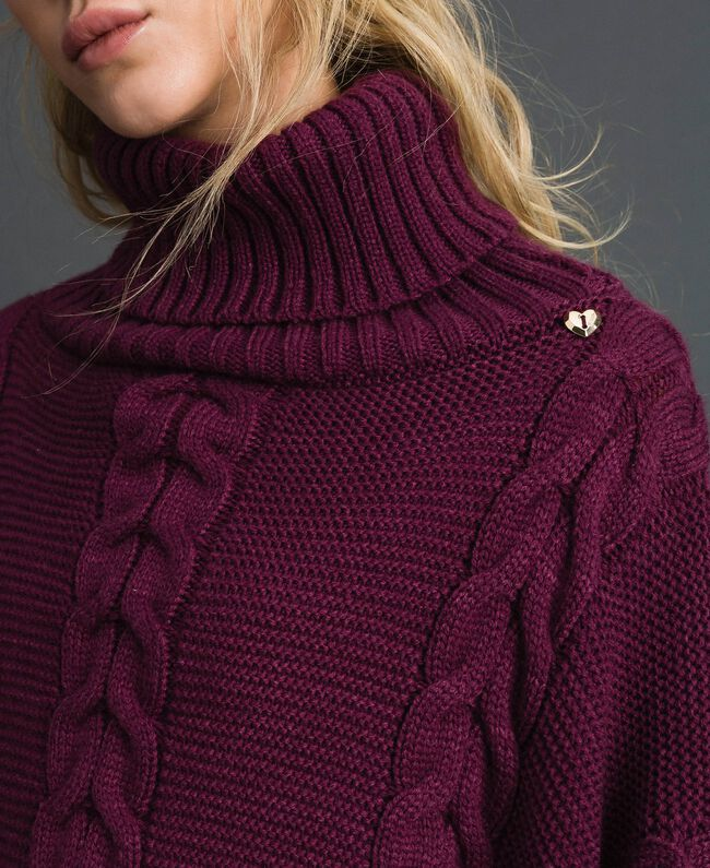 Cable and rib knit poncho Burgundy Red Woman 192MO530J-04