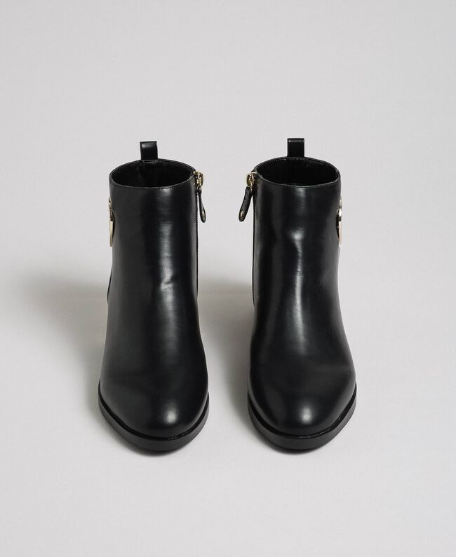 Logo ankle boots with decorative heel Black Woman 192MCP024-05