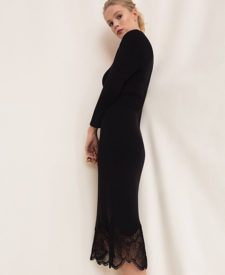 Ribbed sheath dress with lace Black Woman 201TP3120-01
