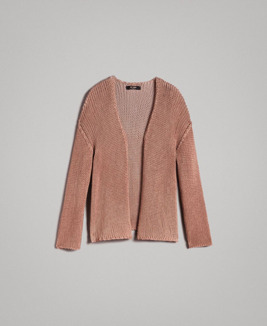 "Double-sided cotton cardigan ""Desert Rose"" Beige Woman 191MT3012-0S"