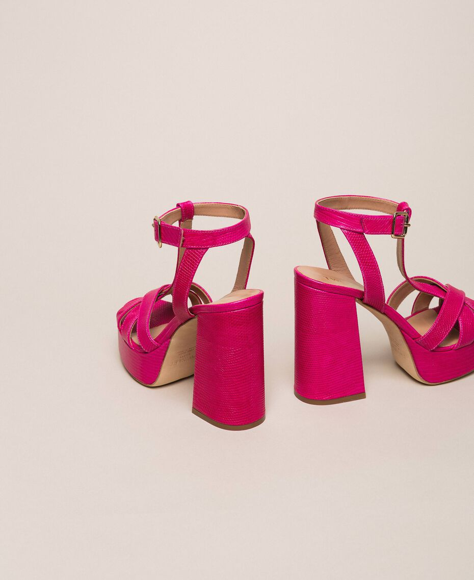 Leather T-bar sandals Bud Pink Woman 201TCP070-03