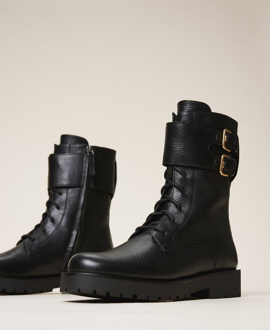Combat boots with double buckle Black Woman 202TCT112-01