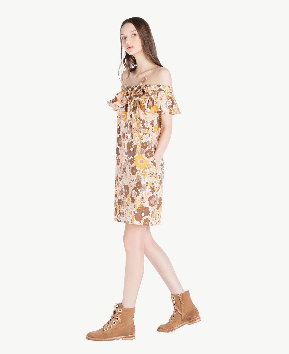 "Printed dress Flat Flower Print ""Rope"" Beige Woman SS82PD-02"