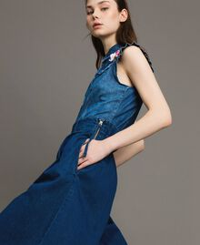 Jean à coupe large et taille haute Bleu Denim Femme 191MT2422-04