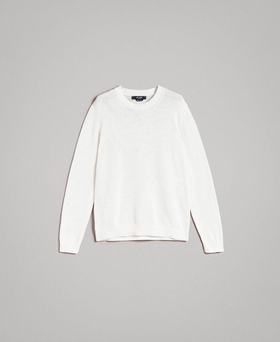 Cotton-blend jumper Matte White Man 191UT3082-0S