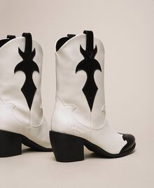 Faux leather two-tone Texas boots Two-tone Lily / Black Woman 201MCP050-04