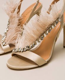 Satin sandals with feathers Nougat Beige Woman 999TCP032-04