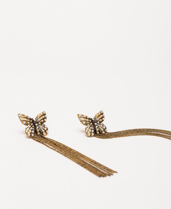 Boucles d'oreilles avec papillon et pendants