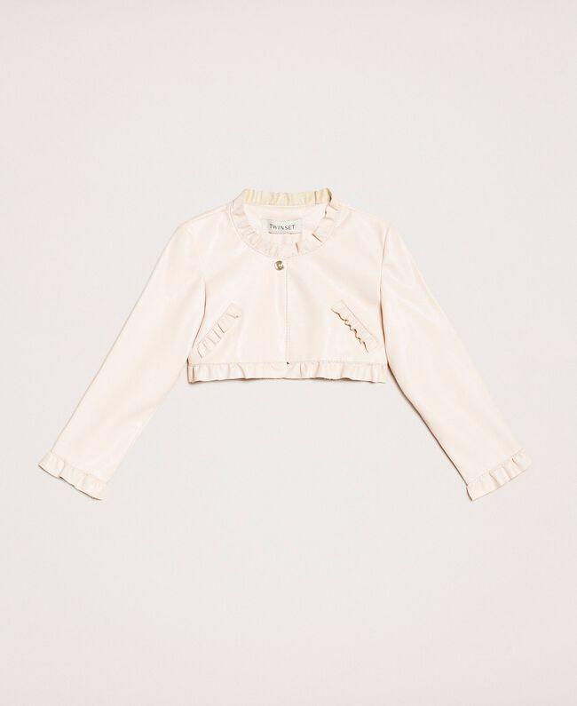Куртка из искусственной кожи с воланами Розовый Бутон Pебенок 201GB2Q90-01